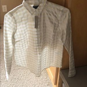 Jcrew long sleeve popover.  Gold and silver plaid.